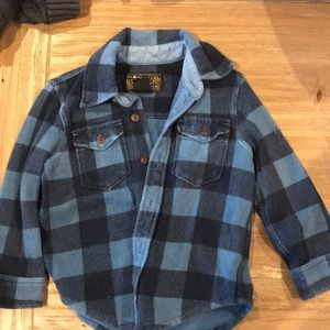 Lucky brand blue and navy plaid flannel